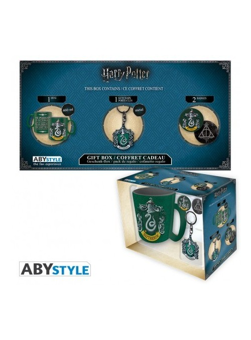 Pack Taza + Llavero + Chapas Slytherin - Harry Potter