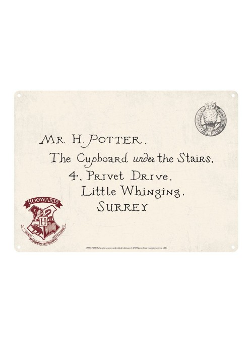 Placa de metal Carta invitación a Hogwarts - Harry Potter