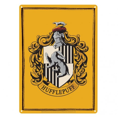 Placa de metal Hufflepuff 21 x 15 cm - Harry Potter