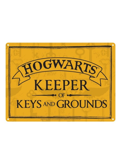 Placa de metal Keeper of Keys 21 x 15 cm - Harry Potter