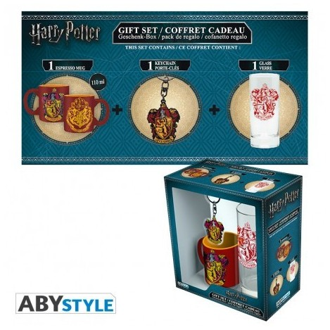 Pack de Vaso + Llavero + Mini Taza Hogwarts - Harry Potter