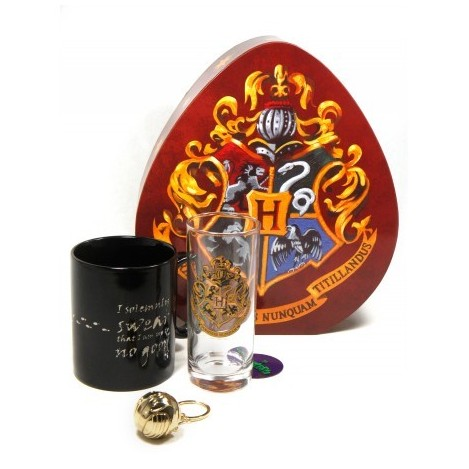 Pack Glass Hogwarts + Cup sensitive to heat + Keychain Snitch - Harry Potter