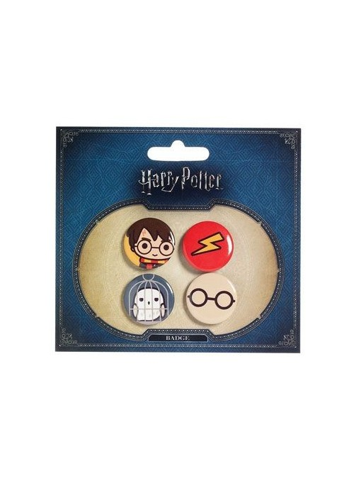 Pack 4 Chapas Cutie Harry Potter & Hedwig - Harry Potter