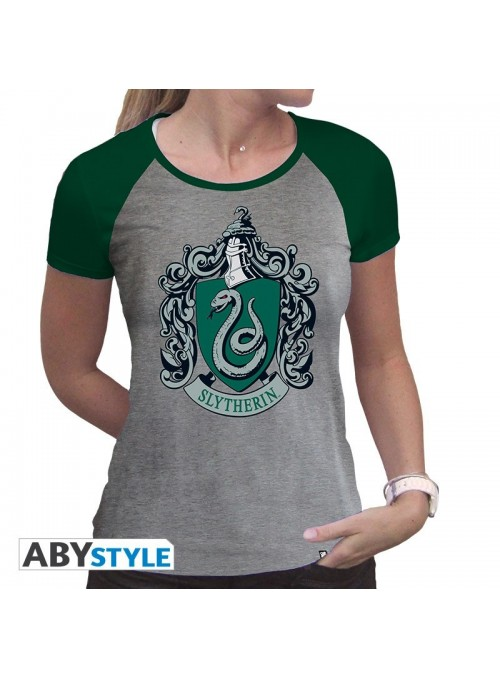 "T-shirt ""Slytherin,"" woman SS grey & green - Harry Potter"