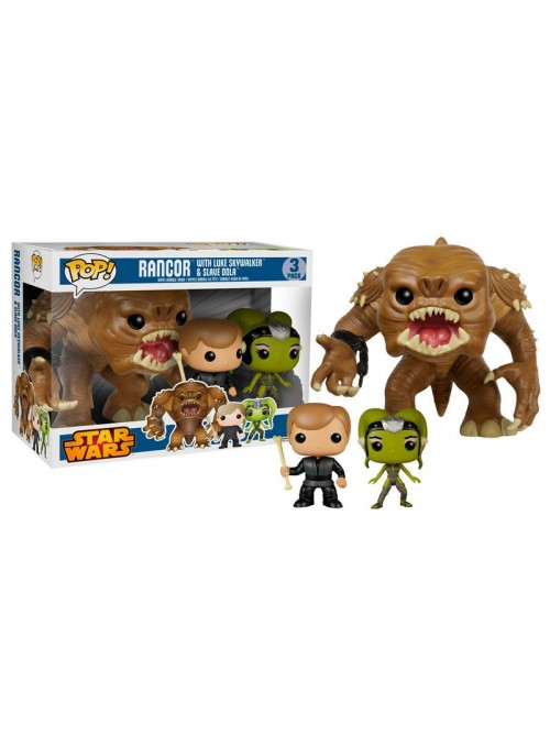 Set 3 figuras POP Rancor 15cm + Jedi Luke + Oola Exclusive - Star Wars