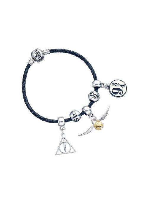 Pulsera cuero Charm Collections Deathly Hallows Snitch Platform Spellbeads Harry Potter