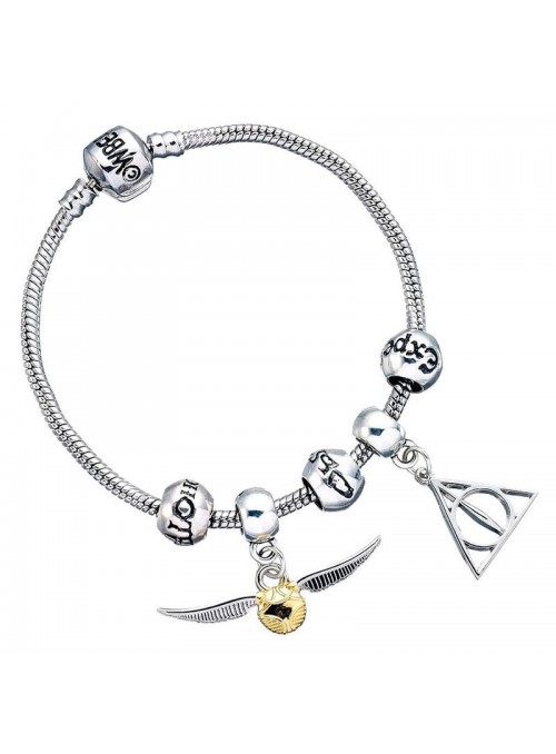 Pulsera plateada Charm Collections Deathly Hallows Snitch 3 Spellbeads Harry Potter