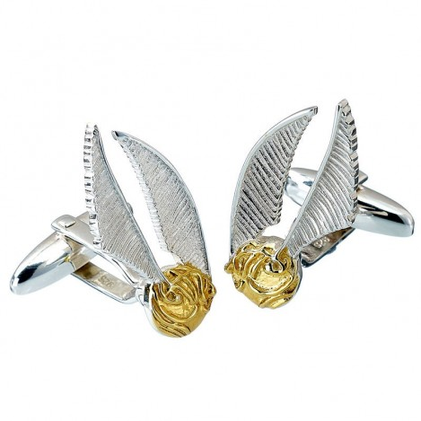 Gemelos Golden Snitch Harry Potter plata