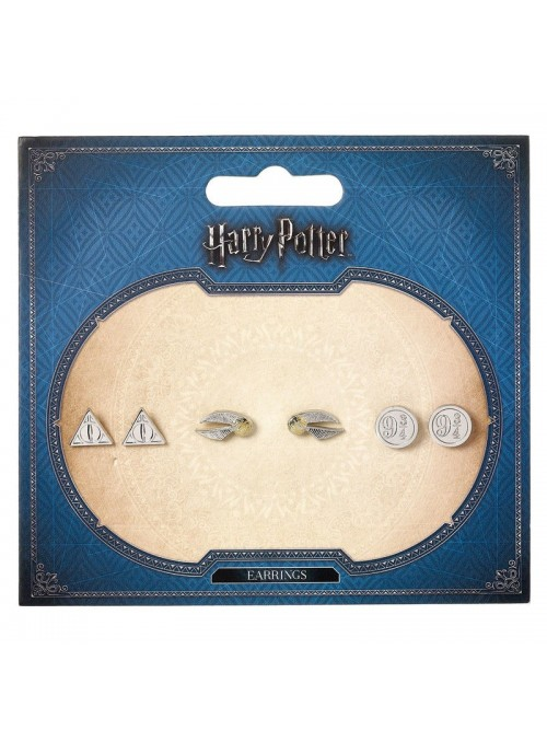 Set pendientes Deathly Hallows Golden Snitch Platform Harry Potter