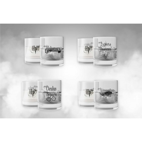 Set 4 vasos de Cristal con Hechizos - Harry Potter