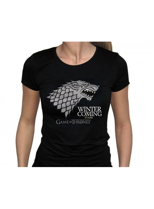"""T-shirt Women """"Winter Is Coming"""" Black - Game of Thrones"""