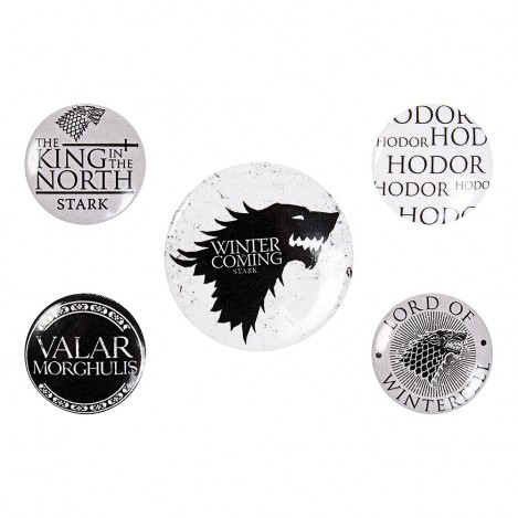 "Pack 5 Chapas ""Winter Is Coming"" - Juego de Tronos"