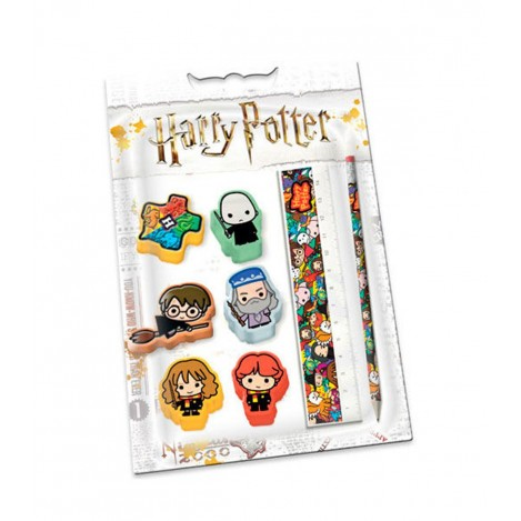 Set Gomas + Regla + Lápiz - Harry Potter