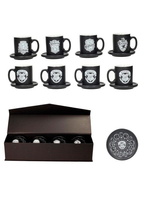 Set 4 mini tazas de café Emblemas - Harry Potter