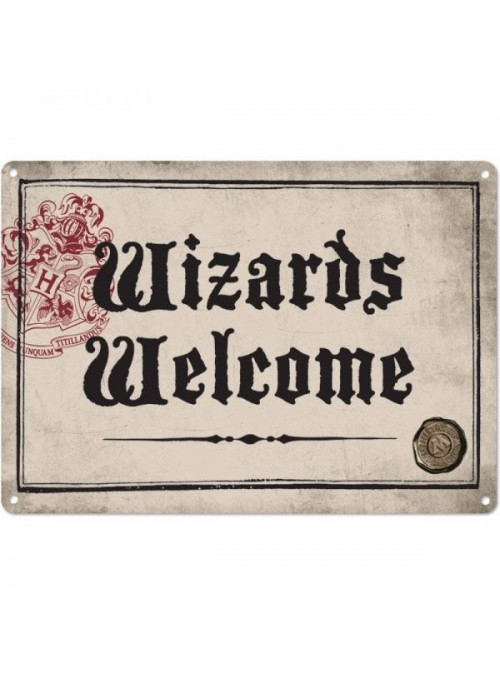 Placa de Chapa Wizards Welcome - Harry Potter