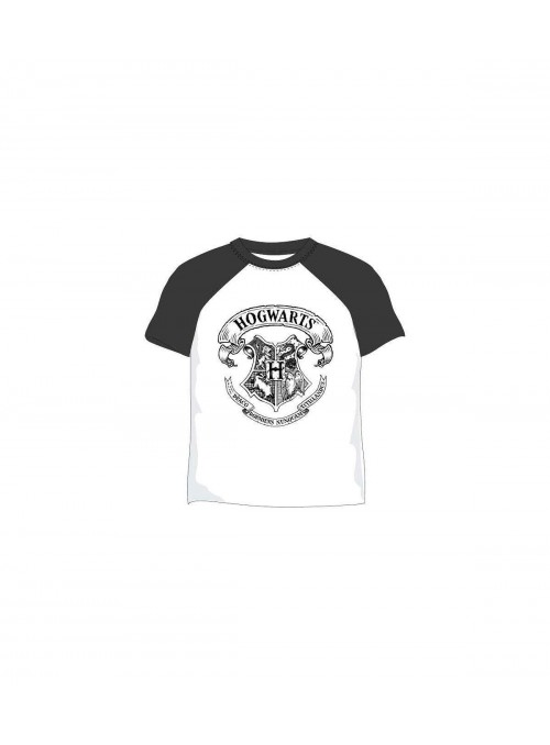Camiseta Hogwarts en Blanco y Negro - Harry Potter