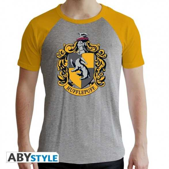 "Camiseta ""Hufflepuff"" hombre gris y amarillo - Harry Potter"