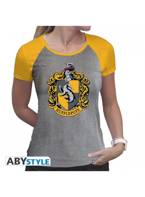 """Camiseta Deluxe """"Hufflepuff"""" mujer gris y amarillo - Harry Potter"""