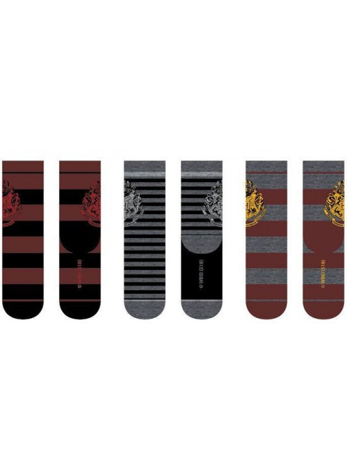 Pack 3 pares de calcetines Hogwarts grises - Harry Potter