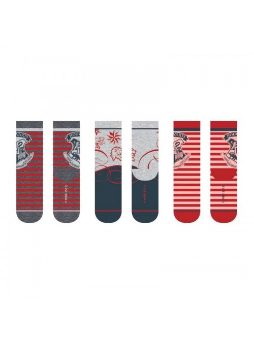 Pack 3 pares de calcetines Hogwarts Rojos - Harry Potter