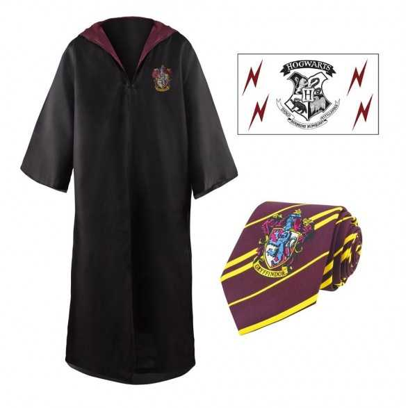 Set de Vestido de Mago, Corbata & Tattoo Gryffindor - Harry Potter