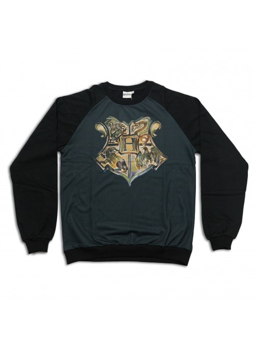 Sudadera negra escudo relieve - Harry Potter