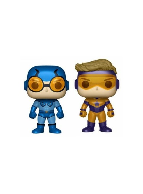 Pack Figuras Funko POP - Blue Beetle & Booster Gold Metallic - DC Heroes